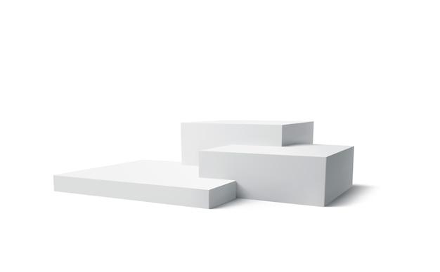 3d biały podium produkt na białym tle. nowoczesne podium z białej kostki