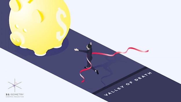 3d biznesmen uruchomić koryta linii mety
