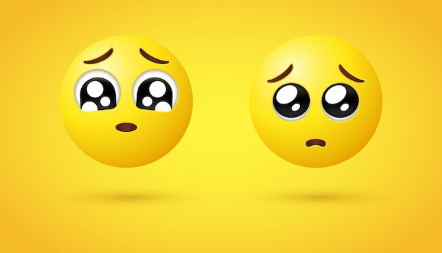 3d błagalne emotikony twarzy lub emotikon z błyszczącymi oczami