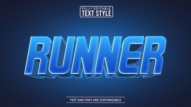 3d blue runner edytowalny efekt tekstowy