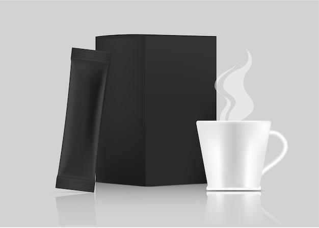 3d błyszcząca saszetka stick i kubek na białym tle. projekt koncepcyjny opakowań do żywności i napojów.
