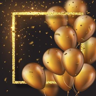 3d błyszczące złote balony z ramą i konfetti.