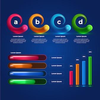 3d błyszczący infographic kolekcja szablon