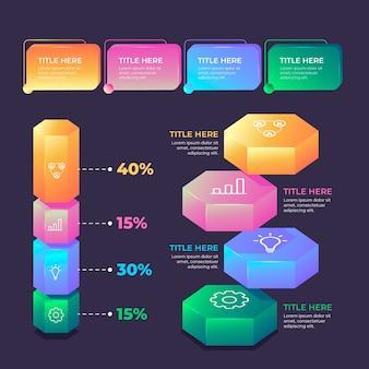 3d błyszczący styl infografiki