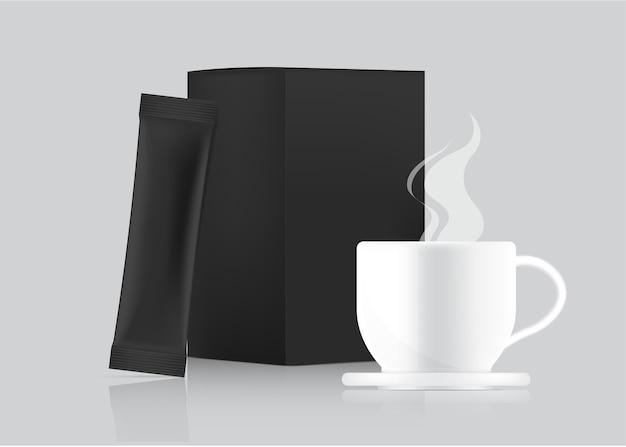 3d błyszczący szablon saszetki stick i kubek z papierowym pudełkiem na białym tle. projekt koncepcyjny opakowań do żywności i napojów.