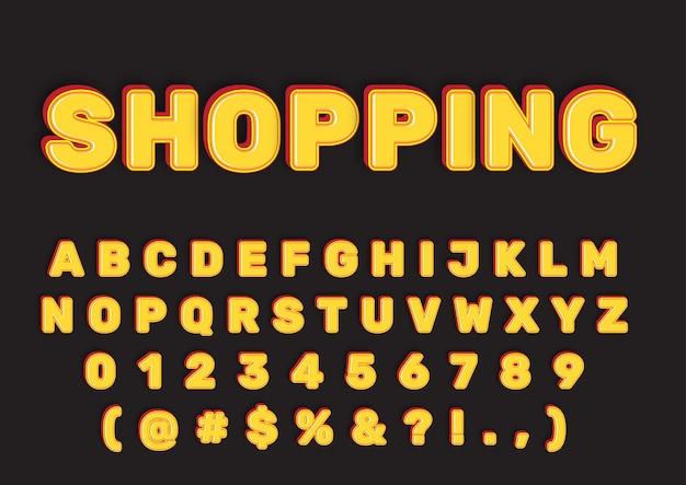 3d błyszczący żółty zestaw liczb alfabetów