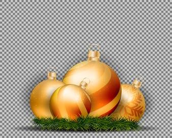 3d boże narodzenie złociste piłki odizolowywać na przejrzystym tle.