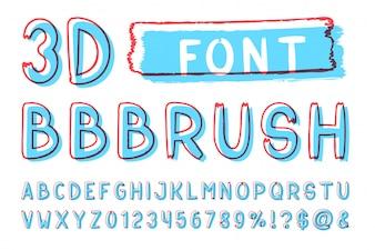 3d Bold szczotka sans serif czcionki