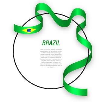 3d brazylia z flagą narodową.
