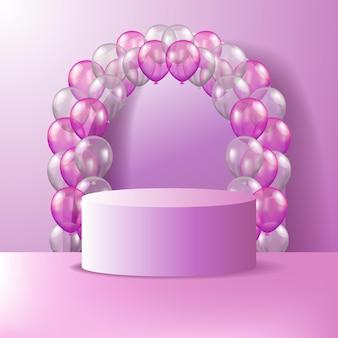 3d cylinder cokołu z wyświetlaczem produktu na podium z 3d balonem w kolorze różowym