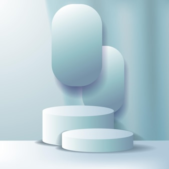 3d cylinder podium wyświetlacz produktu na cokole pastelowy niebieski