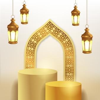 3d cylindryczny wyświetlacz podium i arabski wzór meczetu na drzwi z wiszącą złotą latarnią