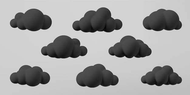 3d czarne chmury zestaw na białym tle na szarym tle. renderuj miękkie kreskówka puszyste czarne chmury ikona, ciemny kurz lub dym. 3d geometryczne kształty ilustracji wektorowych.