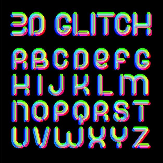 3d czcionka efektu usterki. litery łacińskie od a do z. trendy w stylu 2021. na imprezy muzyczne, banery, ulotki, projekty okładek.