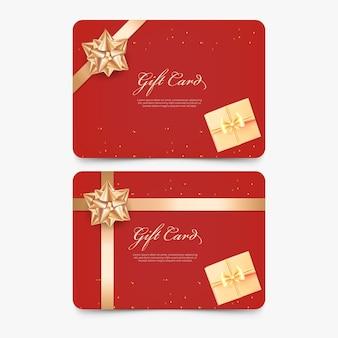 3d czerwona karta podarunkowa ze złotą kokardką i wstążką
