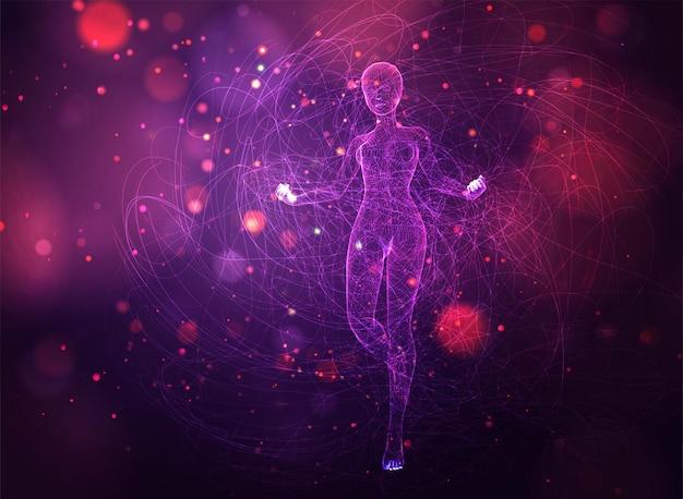 3d dziewczyna z kropek i splajnów, wśród falistych nitek i kółek na neonowo fioletowym i różowym tle