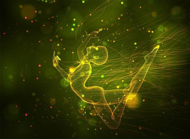 3d dziewczyna z kropek i splajnów, wśród falistych wątków i kółek na żółtym zielonym tle