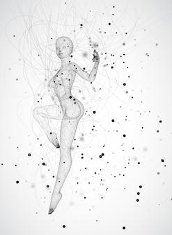 3d dziewczyna z kropek i splajnów, wśród falistych wątków i okręgów