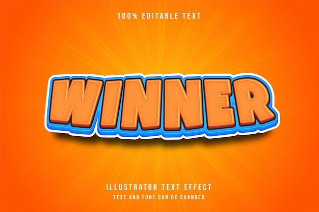 3d edytowalny efekt tekstowy pomarańczowy niebieski komiks styl gry