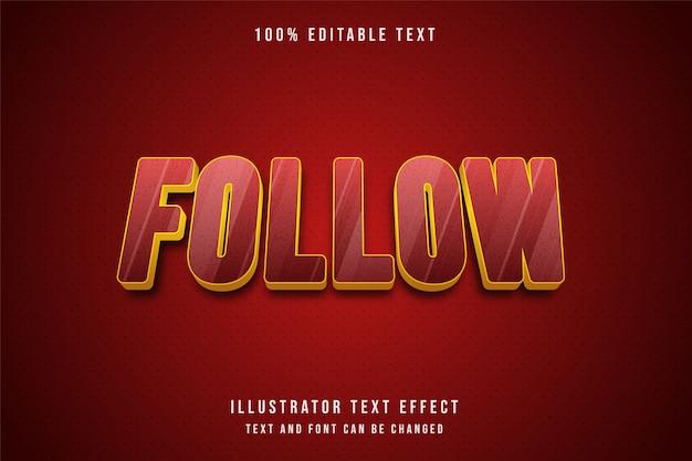 3d edytowalny efekt tekstowy żółty czerwony wzór złoty styl