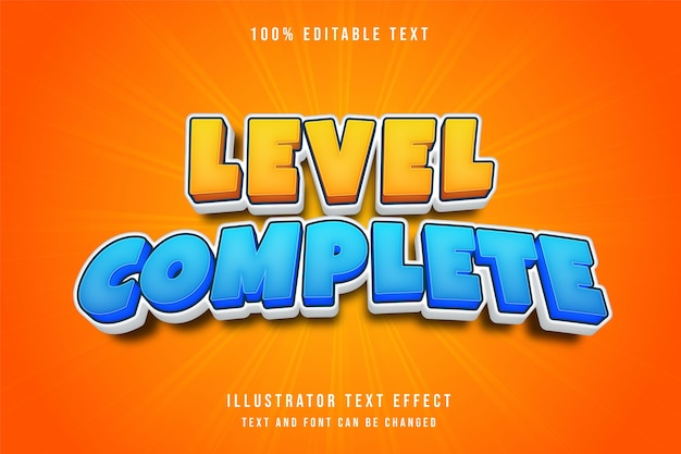 3d edytowalny efekt tekstowy żółty niebieski komiks styl gry