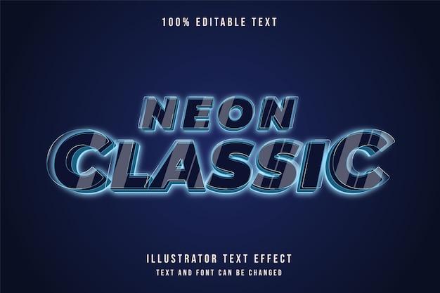 3d edytowalny efekt tekstu niebieskiej gradacji nowoczesny styl neon