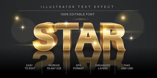 3d edytowalny efekt złotej gwiazdy, styl czcionki