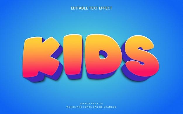 3d efekt stylu tekstu kreskówki dla dzieci