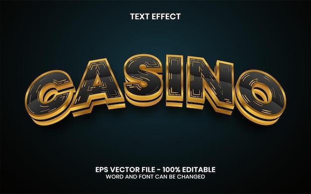 3d efekt tekstowy kasyna w stylu złotym edytowalny efekt tekstowy