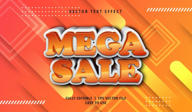 3d efekt tekstowy mega sprzedaży, edytowalny styl tekstu
