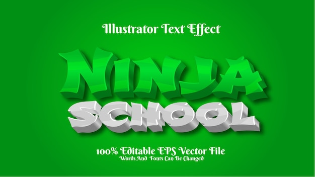 3d efekt tekstowy ninja szkoła ilustrator premium