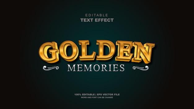 3d efekt tekstowy wektor edytowalne złote wspomnienia edytowalna typografia