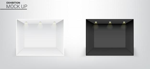 3d egzamin próbny w górę realistycznego czarny i biały pustego pokoju z światłem reflektorów dla sklepu, sklepu tła powystawowa ilustracja