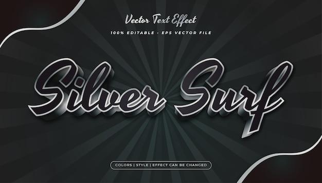 3d elegancki czarny i srebrny styl tekstu z wytłoczonym efektem
