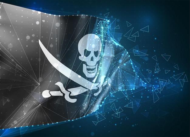 3d flaga siatki czaszki pirata na czarnym, wirtualnym abstrakcyjnym obiekcie 3d z trójkątnych wielokątów na niebieskim tle