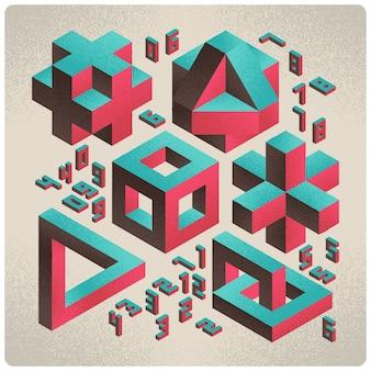 3d geometryczne abstrakcyjne kształty