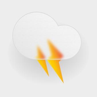 3d ikona chmury z motywami pogodowymi, takimi jak upalny deszcz i błyskawica