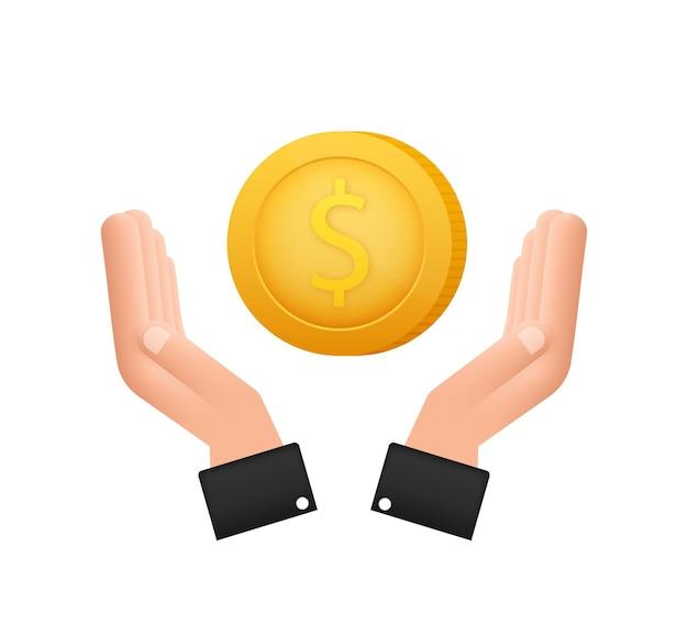 3d ikona ze złotą ręką z monetą dolara do projektowania koncepcyjnego prosty wektor ikona finansowa