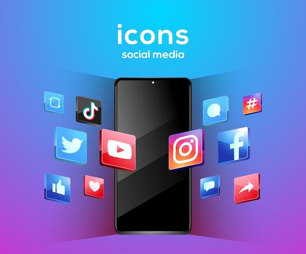 3d ikony mediów społecznościowych z symbolem smartfona