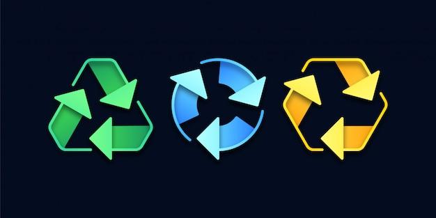 3d ikony recyklingu