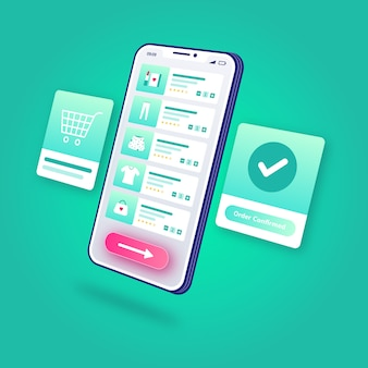 3d illustration e-commerce zamówienie na zakupy online potwierdzone aplikacja mobilna