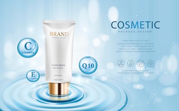 3d ilustracja kosmetyczna makieta na wodzie i na białym tle na tle bokeh