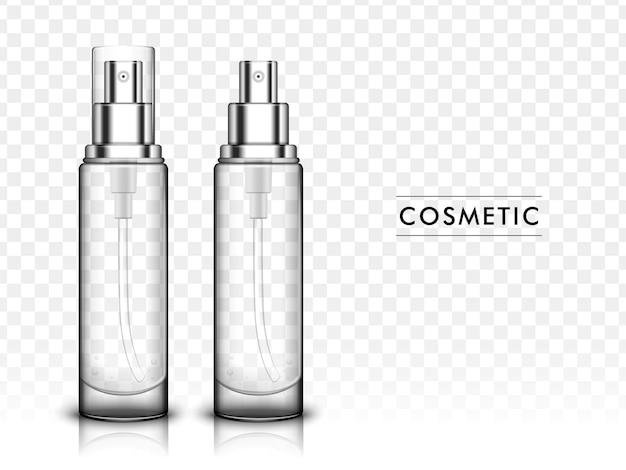 3d ilustracja kosmetyczny szablon, butelka z rozpylaczem na białym tle