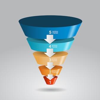 3d infografika szablon lejka