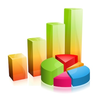 3d infographic szklany wykres