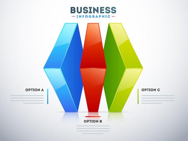 3d infographic układ z trzy różnymi opcjami dla biznesowego szablonu
