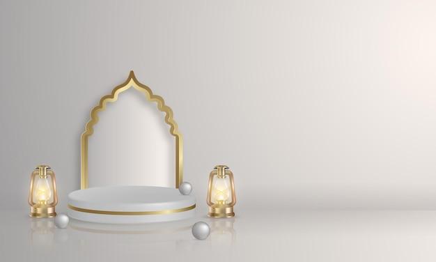 3d islamska wystawa produktów na podium z arabską latarnią