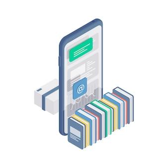 3d izometryczna ilustracja z kolorowymi książkami ułożonymi w pobliżu nowoczesnego telefonu komórkowego