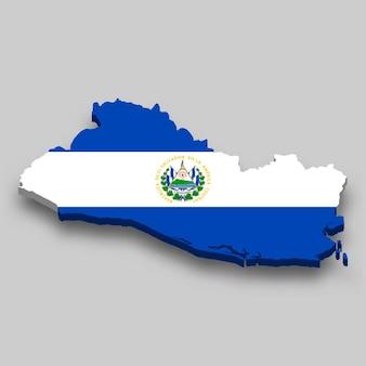 3d izometryczna mapa salwadoru z flagą narodową.