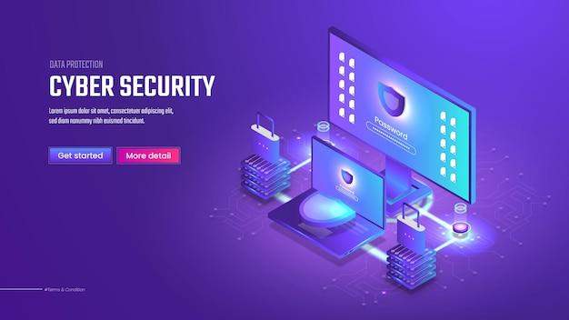 3d izometryczna strona docelowa bezpieczeństwa cybernetycznego